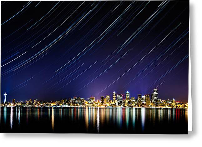 Startrails Greeting Cards - Seattle Stars Greeting Card by Victor Dallons