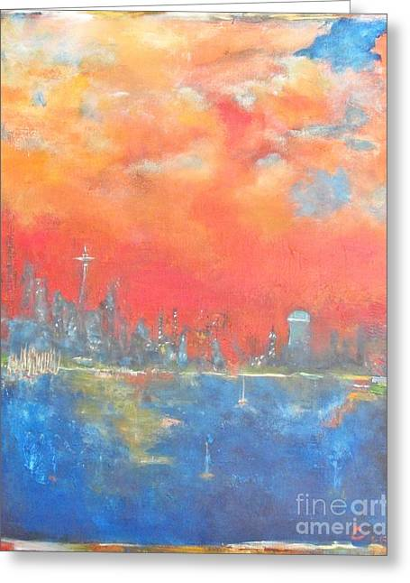 Seattle Sunset Greeting Card by Chaline Ouellet