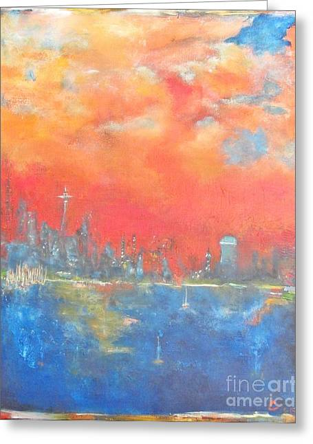 Ocean Sailing Greeting Cards - seattle Sunset Greeting Card by Chaline Ouellet
