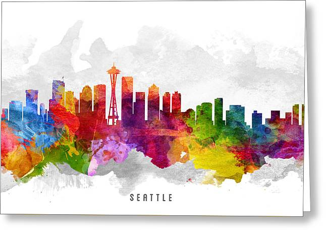 High Rise Greeting Cards - Seattle Washington Cityscape 13 Greeting Card by Aged Pixel