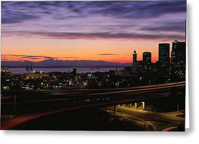 Panoramics Greeting Cards - Seattle, Washington Skyline At Sunset Greeting Card by Panoramic Images