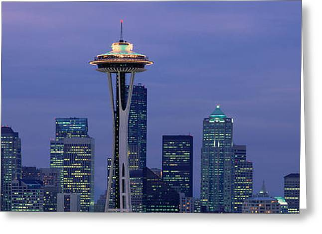 Space Needle Photographs Greeting Cards - Seattle, Washington Skyline Greeting Card by Panoramic Images