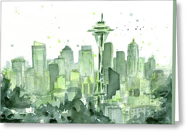 Urban Space Greeting Cards - Seattle Watercolor Greeting Card by Olga Shvartsur