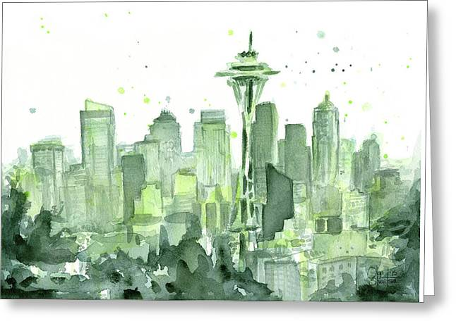 Needle Paintings Greeting Cards - Seattle Watercolor Greeting Card by Olga Shvartsur