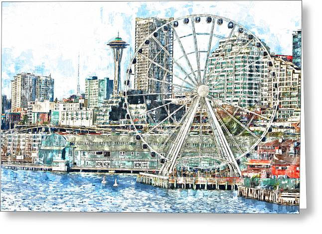 Office Space Digital Art Greeting Cards - Seattle Waterfront Greeting Card by John K Woodruff