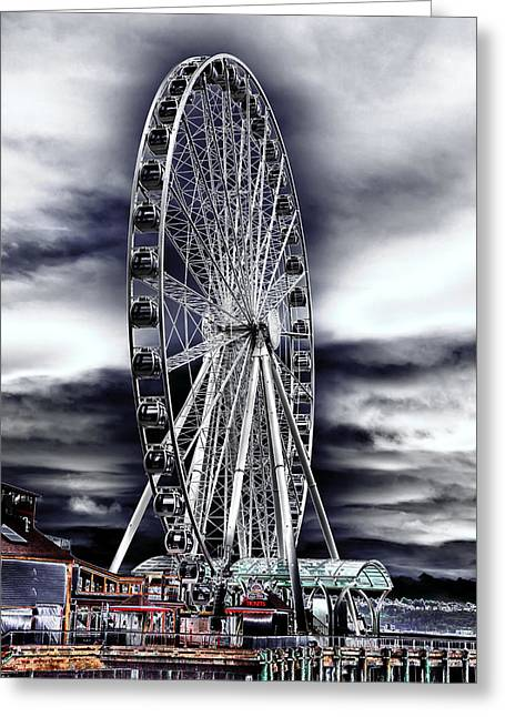 Seattle Landmarks Greeting Cards - Seattles Great Wheel Greeting Card by David Patterson