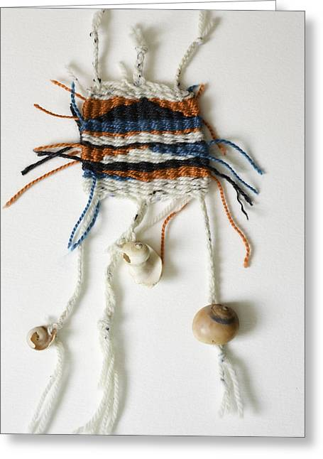 Weave Tapestries - Textiles Greeting Cards - Seaweed Weaving Greeting Card by Melissa Brazeau