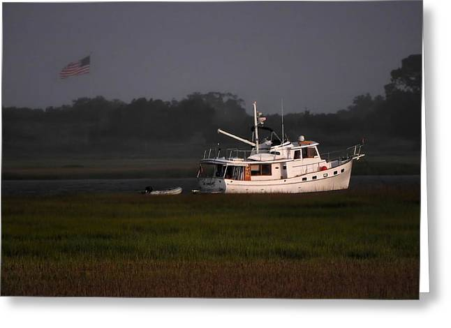 Boats In Harbor Greeting Cards - Seawolf Greeting Card by Laura Ragland