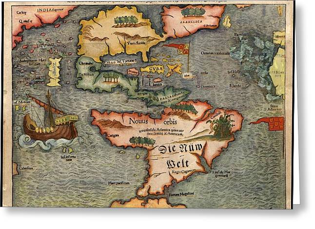 Sebastian Munster's Map Of The New World First Published In 1540 A.d. Greeting Card by L Brown