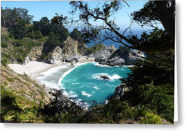 Pfeiffer Beach Greeting Cards - Secluded McWay Cove in Californias Julia Pfeiffer Burns State Park Greeting Card by Carla Parris