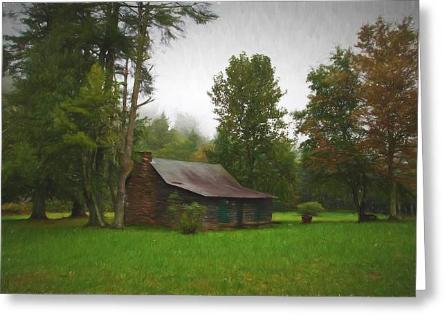 Log Cabins Greeting Cards - Seclusion Greeting Card by Rebecca Raybon
