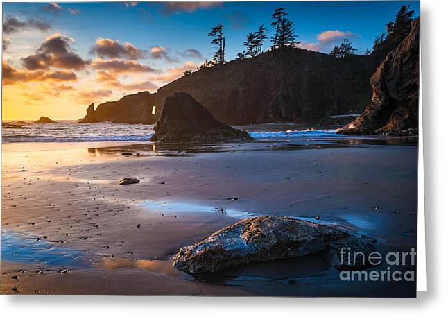 Reflecting Water Greeting Cards - Second Beach Sunset Greeting Card by Inge Johnsson