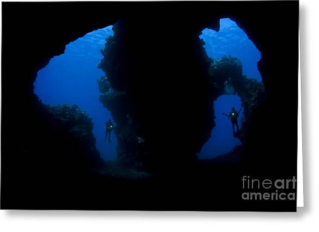 Second Hole Greeting Cards - Second Cathedral Divers Greeting Card by Dave Fleetham - Printscapes