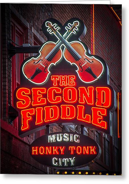 Live Music Greeting Cards - Second Fiddle Nashville Greeting Card by Mike Burgquist