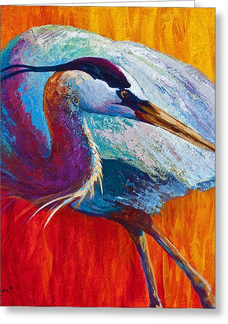 Heron.birds Greeting Cards - Second Glance - Great Blue Heron Greeting Card by Marion Rose