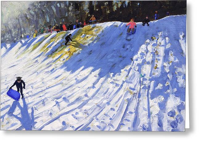 Wintry Greeting Cards - Second Hole Allestree Golf Course Greeting Card by Andrew Macara