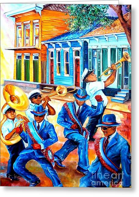 Second Line In Treme Greeting Card by Diane Millsap
