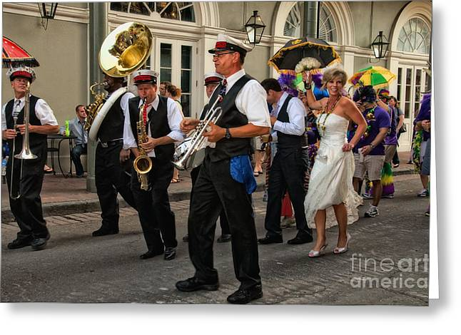 New Orleans Greeting Cards - Second Line Wedding on Bourbon Street New Orleans Greeting Card by Kathleen K Parker