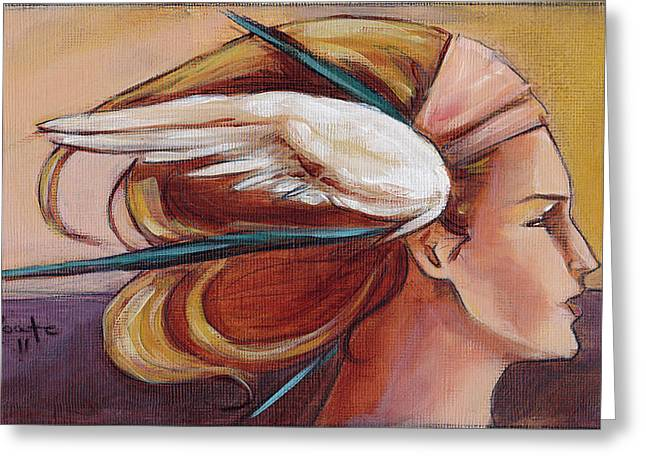 Headdress Greeting Cards - Secondary Wings Right Greeting Card by Jacque Hudson