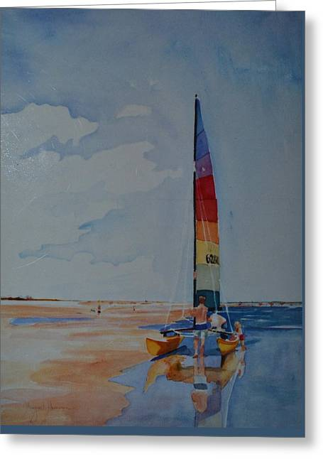 Sailboats In Water Greeting Cards - Seconds Before the Sail Greeting Card by Margaret Huntley Harrison
