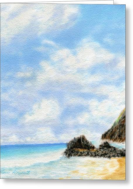 Coastal Decor Pastels Greeting Cards - Secret Beach Sky Greeting Card by Kenneth Grzesik