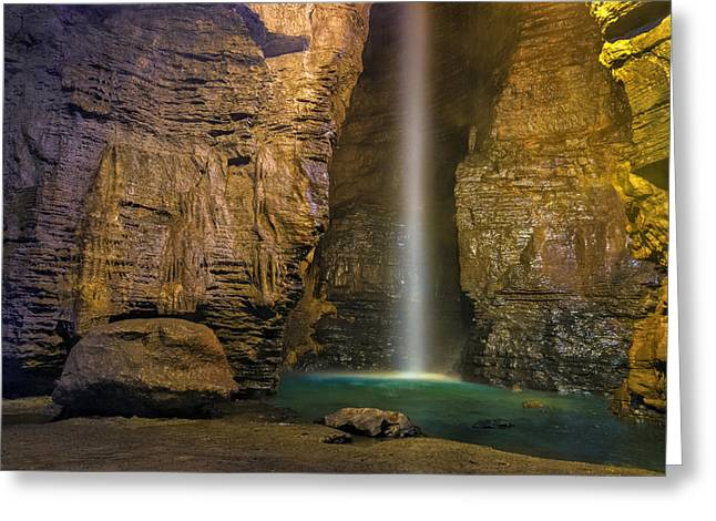 Subterranean Greeting Cards - Secret Caverns waterfall 2 Greeting Card by Mark Papke