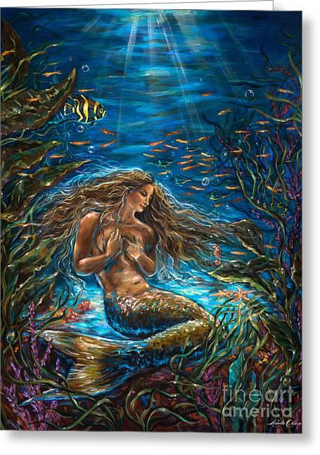Angel Mermaids Ocean Greeting Cards - Secret Garden in the Sea Greeting Card by Linda Olsen