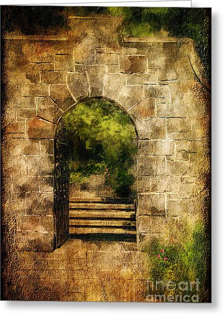 Stepping Stones Greeting Cards - Secret Garden Greeting Card by Lois Bryan