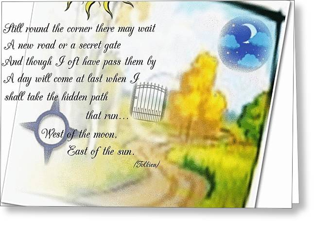 Hidden Corners Greeting Cards - Secret Gate Greeting Card by Asma Naqi