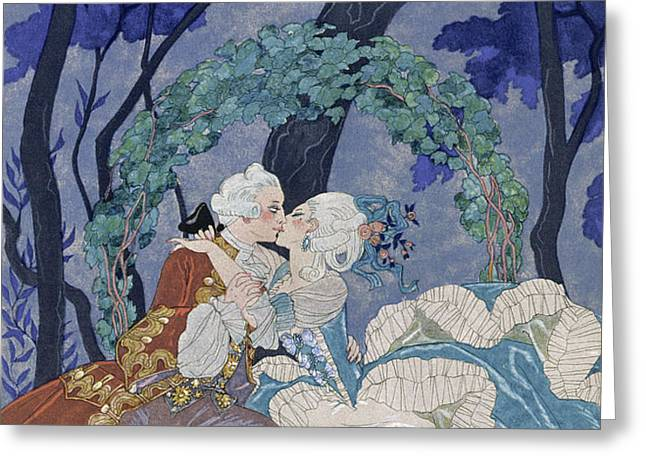 Secret Kiss Greeting Card by Georges Barbier