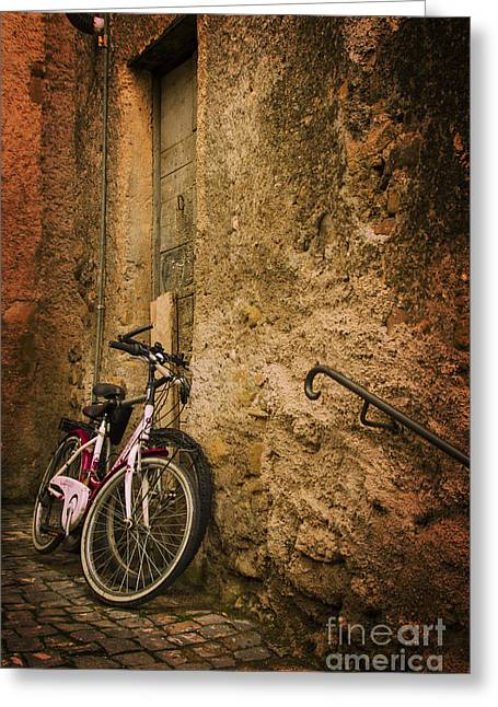 Warm Tones Greeting Cards - Secret lovers - bicycles in the alley Greeting Card by Tom Laso