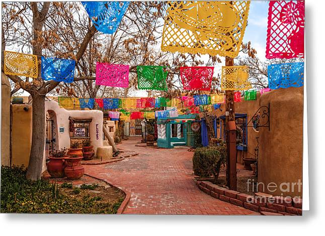 Recently Sold -  - Main Street Greeting Cards - Secret Passageway at Old Town Albuquerque II - New Mexico Greeting Card by Silvio Ligutti