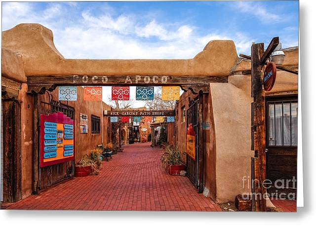 Colonial Style Greeting Cards - Secret Passageway at Old Town Albuquerque - New Mexico Greeting Card by Silvio Ligutti