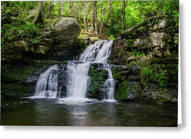 Secret Waterfall - Sylvin Cascades - Pocono Mountains Greeting Card by Bill Cannon