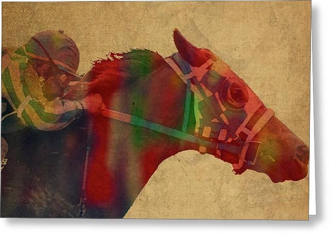 Secretariat Horse Race Watercolor Portrait Greeting Card by Design Turnpike
