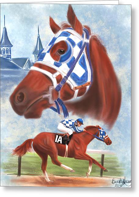Montage Drawings Greeting Cards - Secretariat Racehorse Portrait Greeting Card by Becky Herrera