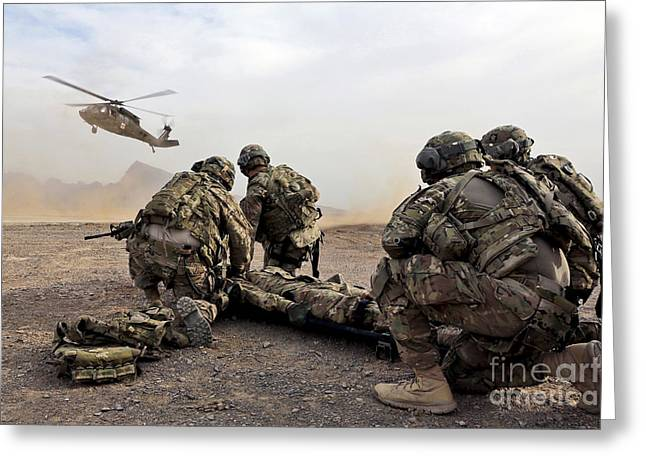 Rotorcraft Photographs Greeting Cards - Security Force Team Members Wait Greeting Card by Stocktrek Images
