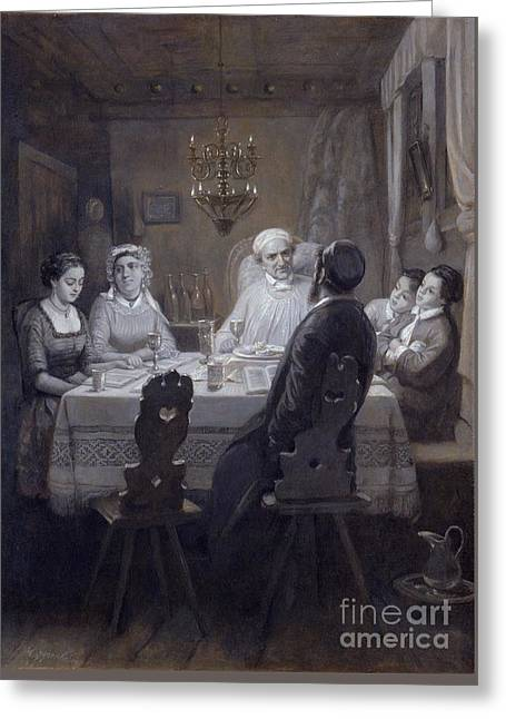 Moritz Greeting Cards - Seder The Passover Meal Greeting Card by Moritz Daniel Oppenheim