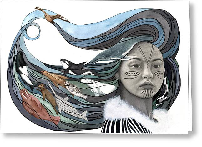 Arctic Paintings Greeting Cards - Sedna Greeting Card by Antony Galbraith