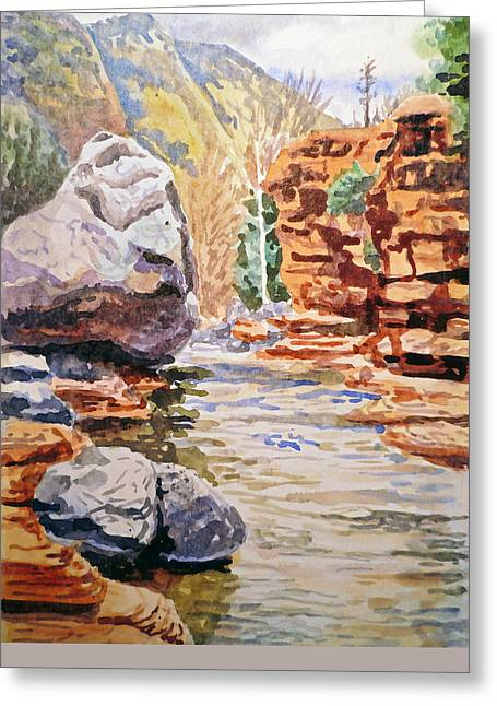 Beautiful Creek Paintings Greeting Cards - Sedona Arizona- Slide Creek Greeting Card by Irina Sztukowski