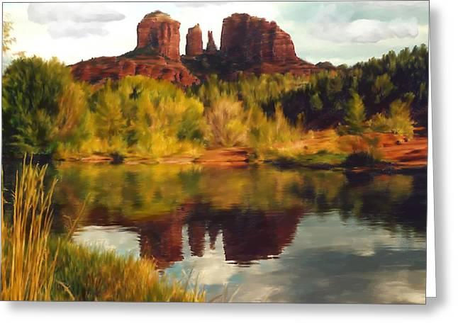 Desert Lake Digital Art Greeting Cards - Sedona Greeting Card by Kurt Van Wagner