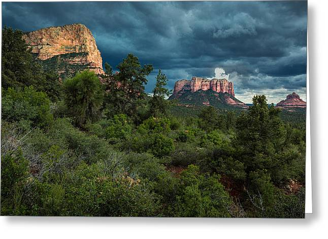 Storm Clouds Pyrography Greeting Cards - Sedona Rock Formations Greeting Card by Rick Strobaugh
