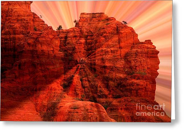 Sunset Abstract Photographs Greeting Cards - Sedona Sunset Energy - Abstract Art Greeting Card by Carol Groenen