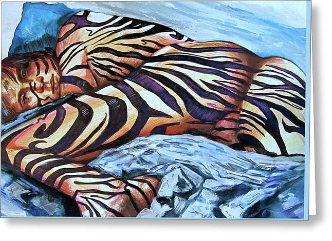 Seduction Of Stripes Greeting Card by Rene Capone