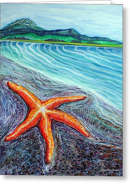 Seastar Paintings Greeting Cards - See Star By the Seashore Greeting Card by Julie Bourbeau