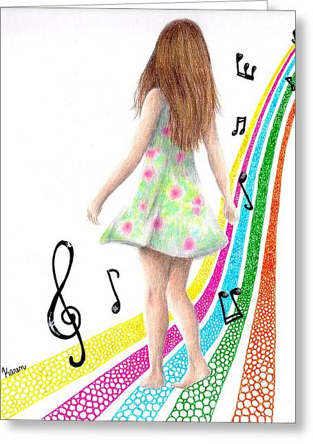 Floating Girl Drawings Greeting Cards - See The Music Greeting Card by Karen Orlanski