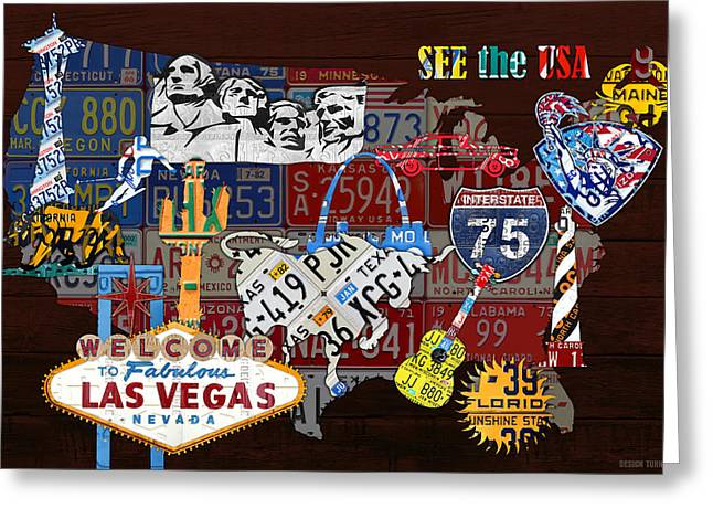 Ski Art Greeting Cards - See the USA Vintage Travel Map Recycled License Plate Art of American Landmarks Greeting Card by Design Turnpike