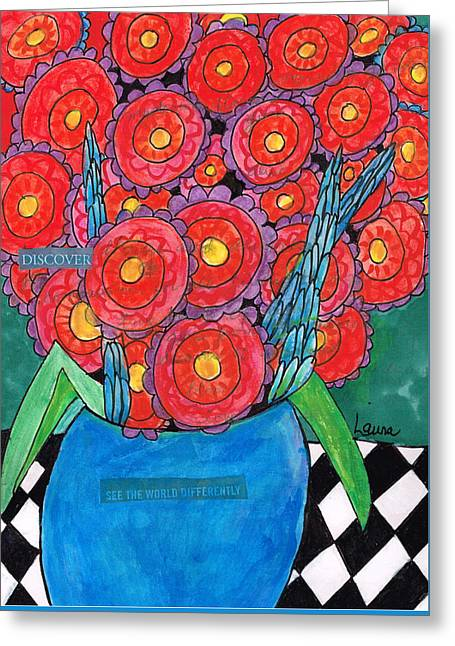 Mix Medium Paintings Greeting Cards - See the World Differently Greeting Card by Laura Tompkins