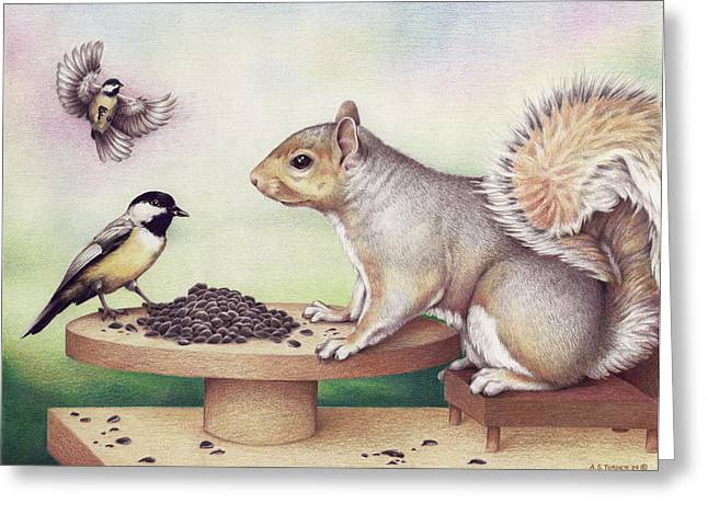 Squirrel Drawings Greeting Cards - Seed For Two Greeting Card by Amy S Turner