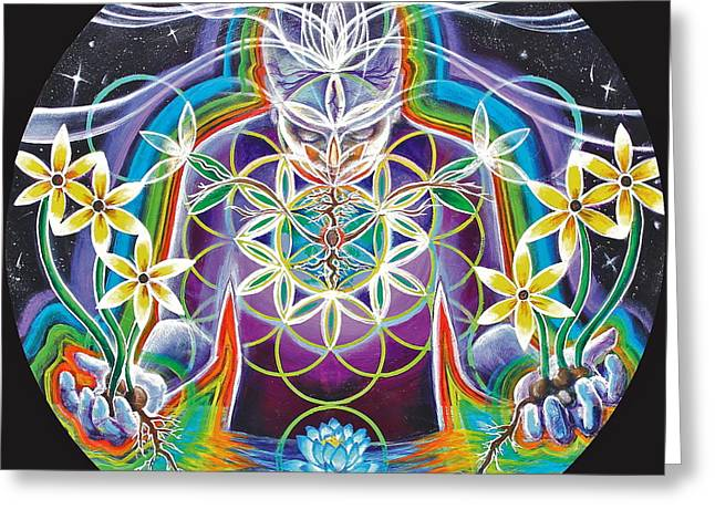 Inner Self Paintings Greeting Cards - Seeds of Life Within Greeting Card by Morgan  Mandala Manley
